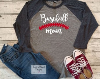 Baseball Mom Shirt, Baseball Mom, Personalized Baseball Shirt, Baseball Mom Raglan, T Ball Mom, Add Player Number, Mother's Day
