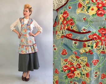 Vintage 1930s Apron | 30s Homemaker Housewife Kitchen Pinafore in Cute Baby Blue Red Yellow Green and White Floral Paisley Print with Pocket