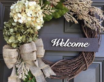 Hydrangea front door wreath - everyday wreath with accent - welcome wreath - summer wreath - front door decor - Year round wreath - gift