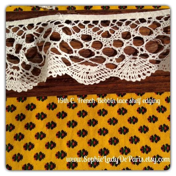 Victorian Home Decor Bobbin Lace White Cotton French Shelf Edging #sophieladydeparis