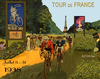 """Bike 16""""x20"""" Tour de France Bicycle Race Cycle 1938 France French Sport European Vintage Poster Repro Paper/Canvas FREE SHIPPING in USA"""
