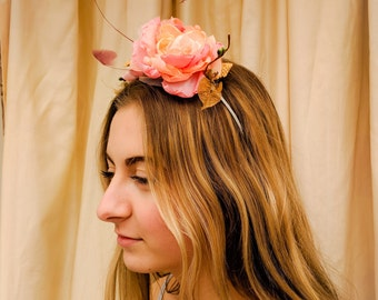 Romantic Pink Rose and feather headdress