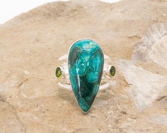 Modern Chrysocolla and Sterling Silver Ring