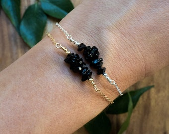 Black onyx bracelet - Black onyx beaded bar bracelet - Genuine black onyx bead bracelet - Black gemstone bracelet - July birthstone bracelet