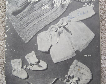 Knit Pattern Book - Children's Fashions in Wool - Styled by Hilde #51 - Vintage 1946