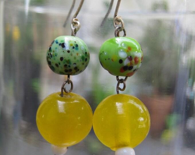 Insouciant Studios Sprightly Lemon Lime Earrings Fritz Glass Yellow Green