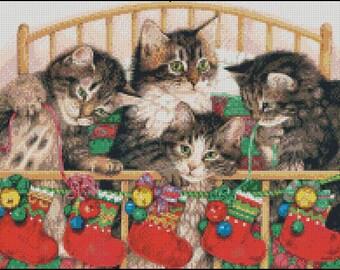 CHRISTMAS KITTENS cross stitch pattern No.85