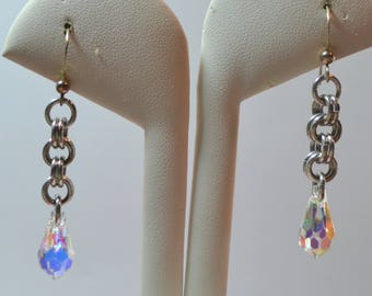 Chainmaille and Swarovski Drop Earrings