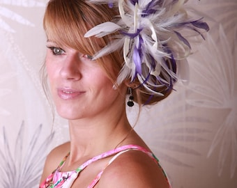Cream & Purple  Feather Fascinator Hat - Headband or comb - Any colour can be ordered  - Wedding,Bridal,Mother of the Bride,Tea Party,Ascot