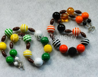Football Necklace Chunky Bubblegum Necklace Team Spirit Chunky Bead Child Size Necklace