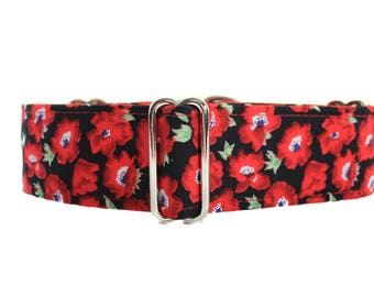 Red Martingale Collar, Poppies Martingale Collar, Floral Martingale, Red Dog Collar, Poppies Dog Collar, Dog Collars Canada, Remembrance Day
