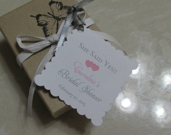 Personalized Favor Tags 2x2' , Bridal Shower tags, Thank You tags, Favor tags, Gift tags, she said yes favor tag