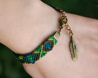 Ethnic Bracelet, Feather charm, Native american, Bohemian tribal charm, Green ikat bracelet, Brown fiber jewelry, Woven cotton, Teal chevron
