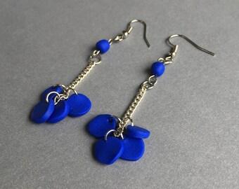 Blue Multi-Dangle Disc Earrings