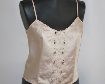 Pale pink embroidered slip top Silky summer body top Camisole top Womens vest top Silk tank top Thin strap top Silk shirt BOHO Rustic top