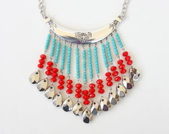 Bohemian jewelry, bohemian statement necklace, boho jewelry, gypsy collar necklace, turquoise red necklace, festival jewellery gift for her