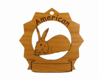 American Rabbit Personalized Wood Ornament