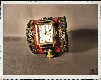 Red leather cuff -  watch  - Tempus