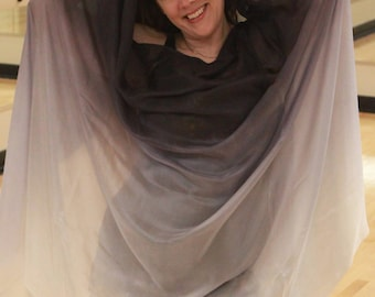 MADE TO ORDER Hurricane Jo Jo Silver, Gray and White Silk Bellydance Veil Bellydance Costume