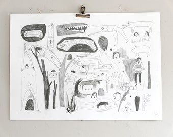 A Muddle in the Jungle | Drawing on paper | Faye Moorhouse