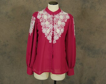 vintage 70s Embroidered Blouse - 1970s Fuchsia Cutwork Chiffon Blouse - Sz M