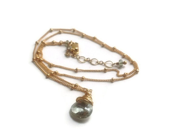 Genuine green Tourmaline Necklace , moss Tourmaline Briolette  Minimalist Heart Chakra  Love , Compassion October Birthstone