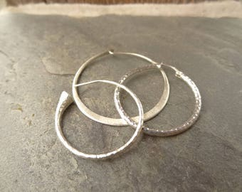 Assorted Collection of Single Hoop Earrings in Sterling Silver, set of 3. Hoop Circle Sterling Earrings, Hammered, Smooth Trim, Artisan Made