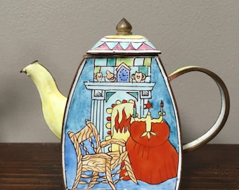 KELVIN CHEN (?) Enamel Mini Teapot Van Gogh Interior lovely side and lid detailing Swinburne