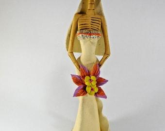 "BRIDE CATRINA handmade clay figurine day of the dead mexican folk art 12"""