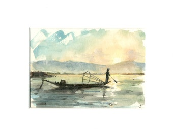 5x7 original watercolor of fishing boat