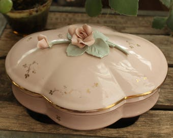 Leneige Bone China Dresser Dish Vintage 1940's English Lidded Vanity Pink Gold Rose Design Powder Trinket Dish