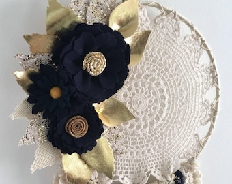 Felt flower dreamcatcher, floral dreamcatcher, crochet dreamcatcher, doily dreamcatcher, dreamcatcher, navy dreamcatcher , dreamcatcher