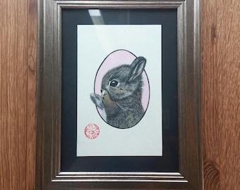 "Framed original watercolor ""Bunny"""