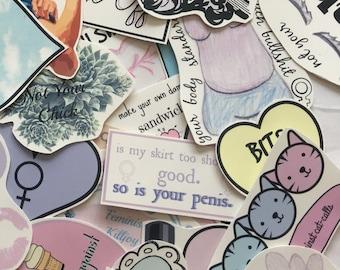 Waterproof Pastel Grunge Feminist Sticker (Pack of 7)