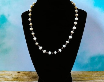 Freshwater White Pearl Necklace, Bridal Jewelry, Wedding necklace, Pearl Jewelry, Pearl Bridal Jewelry, White Pearl Necklace, Pearl Bridal