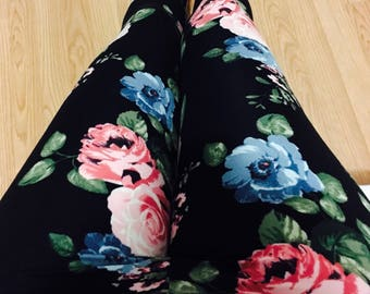 "Leggings for women, ultra comfortable in ""brushed poly"" pink and blue flowers on black polyester/spandex"