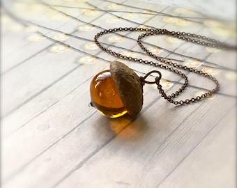 Glass Acorn Necklace - Streaky Topaz - by Bullseyebeads