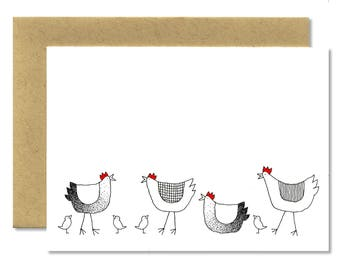 More Hens + Chicks - A1 Card (Single or Set of 5)