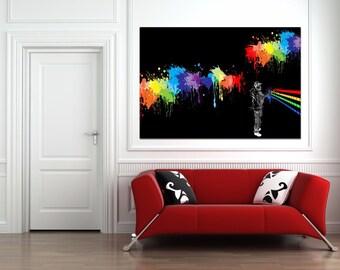 Spray Can Street art on canvas - Large 36 x 20 Giclee Print Bansy. Mr. Brainwash