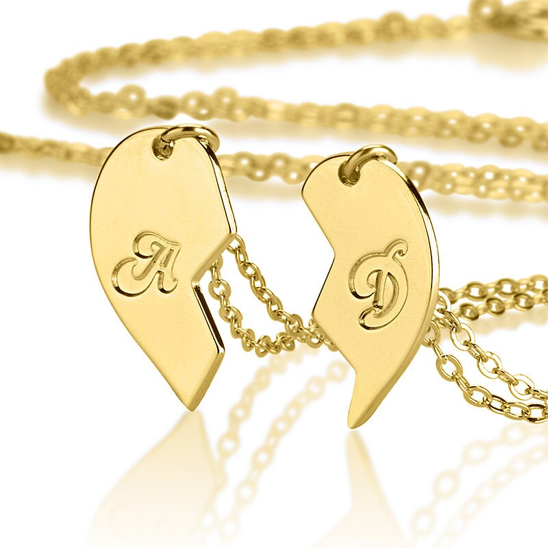 il friend best listing heart pendant half necklace set locket
