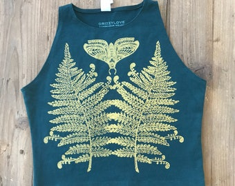 Moth & Fern Fitted Crop Tank