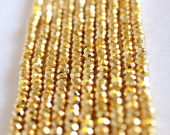 """Gold Pyrite Beads - Full Strand 13.5"""" - 3mm x 4mm Rondelle Beads - Faceted Beads - Small Gold Beads - Wholesale Beads - Bright Gold / GB-008"""