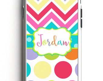 Personalized Phone Case - Rainbow Chevron Personalized Phone Case, Custom Phone Case, iPhone Case, Samsung Case