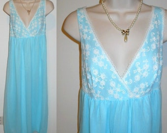 Vintage Baby Blue Chiffon Nightgown ~ 1960's Long Blue Nightgown ~ Double Nylon Chiffon Nightgown ~ Blue Nightgown ~ Vintage Nightgown