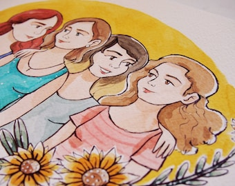 Friends custom portrait, gift for besties, gift for friend, gift for BFF, watercolor drawing, bestfriend gift, best friend portrait gift