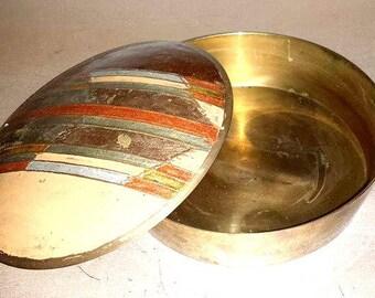 Vintage Brass Aztec Trinket Box,Southwestern Brass Box,Aztec Brass Box,India,Brass,Southwestern,Aztec,Chevron,Santa Fe,Brass Container,MCM