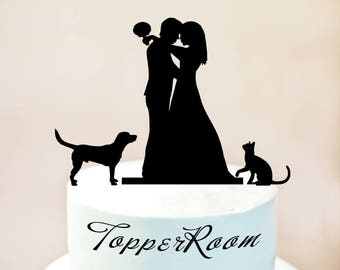 Wedding cake topper with cat and dog,cake topper + cat and dog,cat cake topper,silhouette cake topper for wedding,dog cake topper (1041)