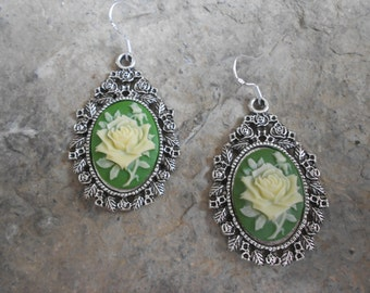 Gorgeous Yellow Rose (on a green background) Cameo Earrings!!! .925 Hooks!!!  Quality!!!