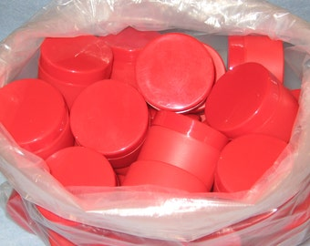 RED Plastic Cosmetic Jars Lot- DIY- Crafter -Event Planner-Storage.