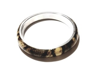 Vintage Silver with Acrylic Black and Brown Snake Skin Style Bangle Bracelet